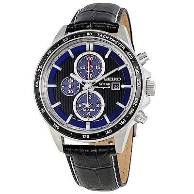 SEIKO 可圈可點太陽能三眼皮革男錶 (SSC437P1)-黑+深藍x44mm