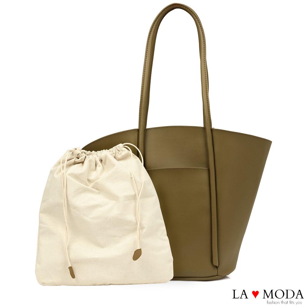 La Moda 設計感大容量托特肩背手提子母包托特包(綠)