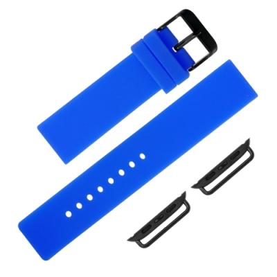 Apple Watch 蘋果手錶替用錶帶 不鏽鋼扣頭 矽膠錶帶-藍色