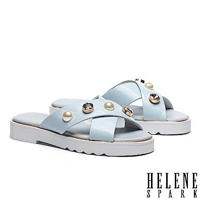 拖鞋 HELENE SPARK 珍珠白鑽交叉羊皮厚底拖鞋-藍