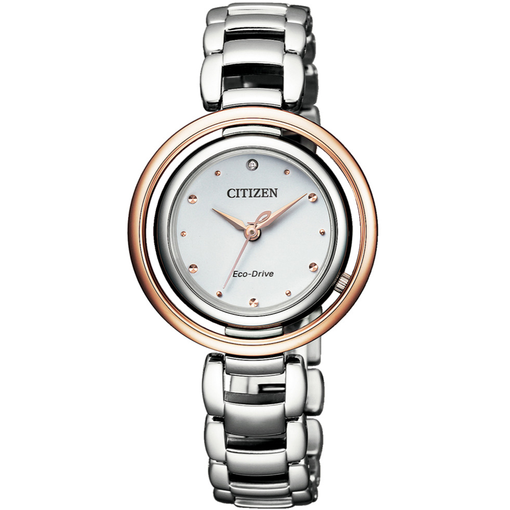 CITIZEN 星辰L限量光動能天然鑽石女錶(EM0668-83A)