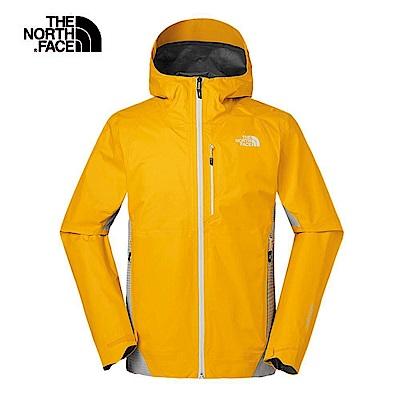The North Face北面男款橙色防水透氣衝鋒衣 3V84H6G