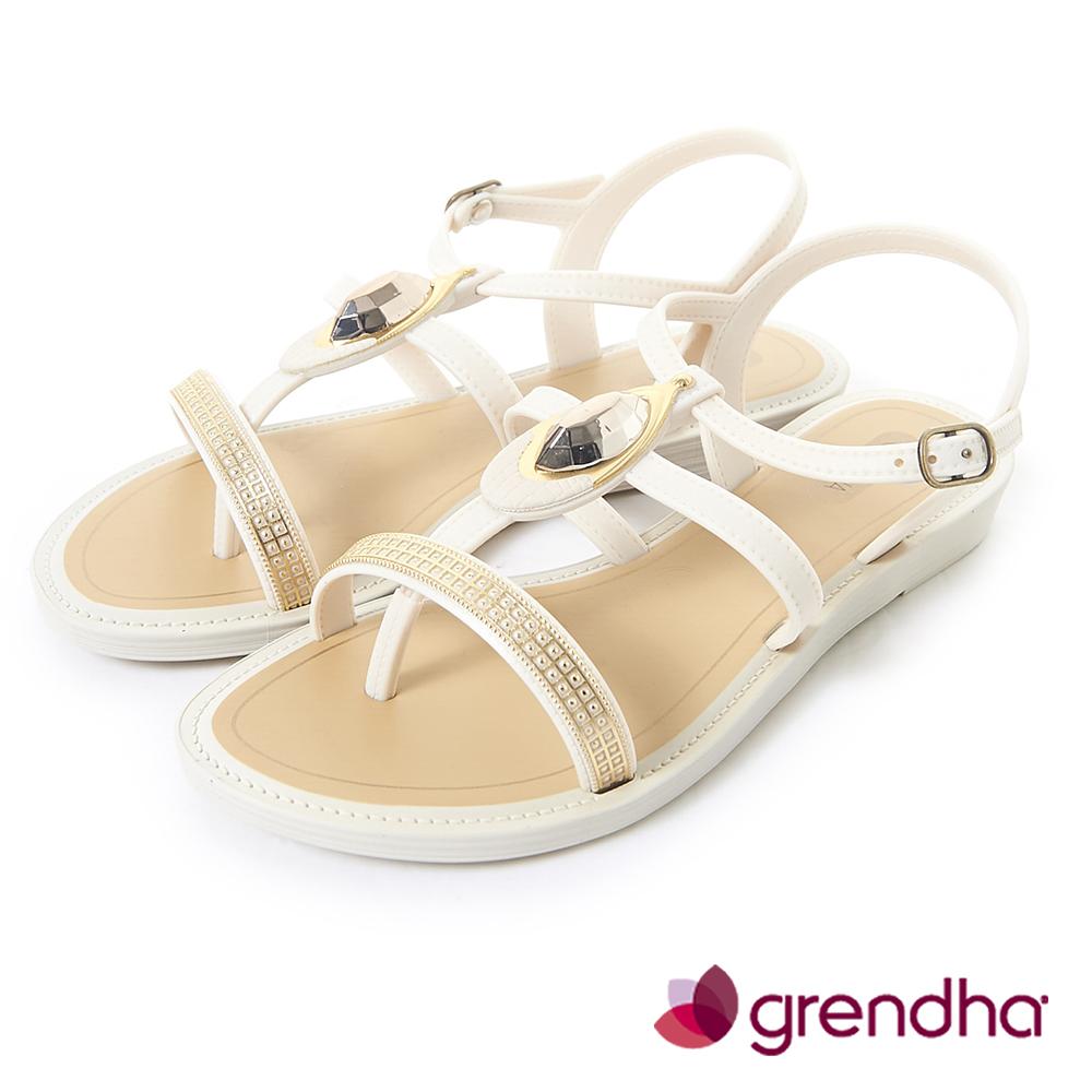 Grendha 華麗寶石金艷平底涼鞋-米白