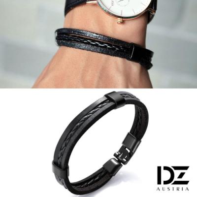 DZ 率性圓繩編層次 圈扣手環手鍊(黑系)