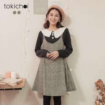 東京著衣 單純悸動千鳥格細肩帶釦環洋裝