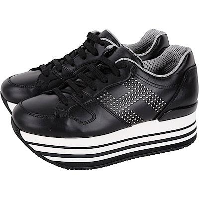 HOGAN Maxi H222 H 穿孔皮革厚底繫帶休閒鞋(黑色)