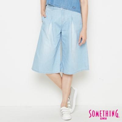 SOMETHING NEO FIT 復古重磅 牛仔闊腿褲-女-重漂藍