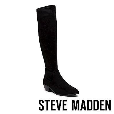 STEVE MADDEN-JESTIK經典素面麂皮長靴-黑色