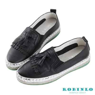 Robinlo 百搭經典流蘇鑲鑽休閒鞋 黑色