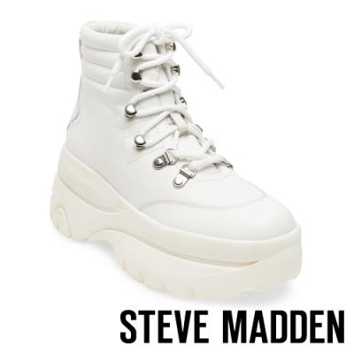 STEVE MADDEN-HUSKY 運動系增高素面高筒綁帶靴-白色