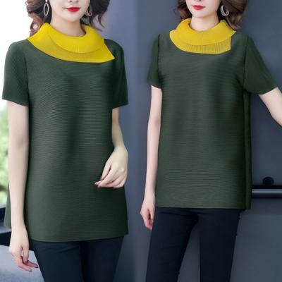 【韓國K.W.】(預購) 時尚輕鬆顯瘦撞色三宅壓摺上衣