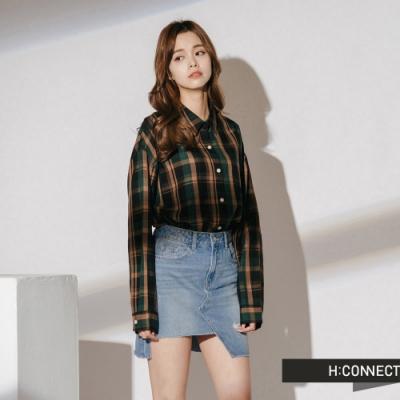 H:CONNECT 韓國品牌 女裝-復古配色格紋襯衫-黑