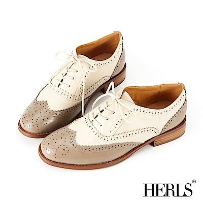 HERLS 玩味復古 內真皮雙色雕花牛津鞋-灰x米