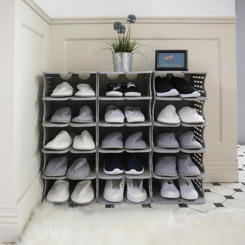 完美主義 簡約可堆疊鞋架/鞋櫃/鞋盒-2色(20入)