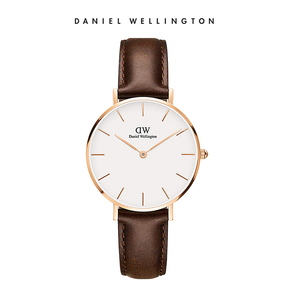 DW 手錶 官方旗艦店 32mm玫瑰金框 Classic Petite 深棕真皮皮革錶