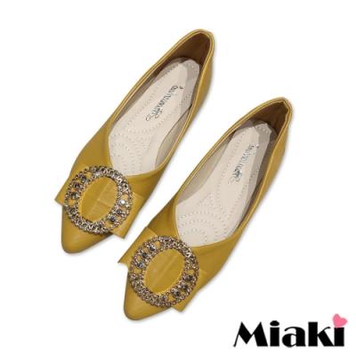 Miaki-娃娃鞋小香彩鑽低跟平底鞋-黃
