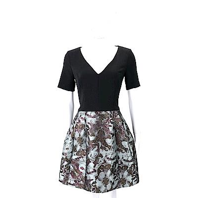 PINKO BOCA1 墨染泰絲黑色拼接洋裝