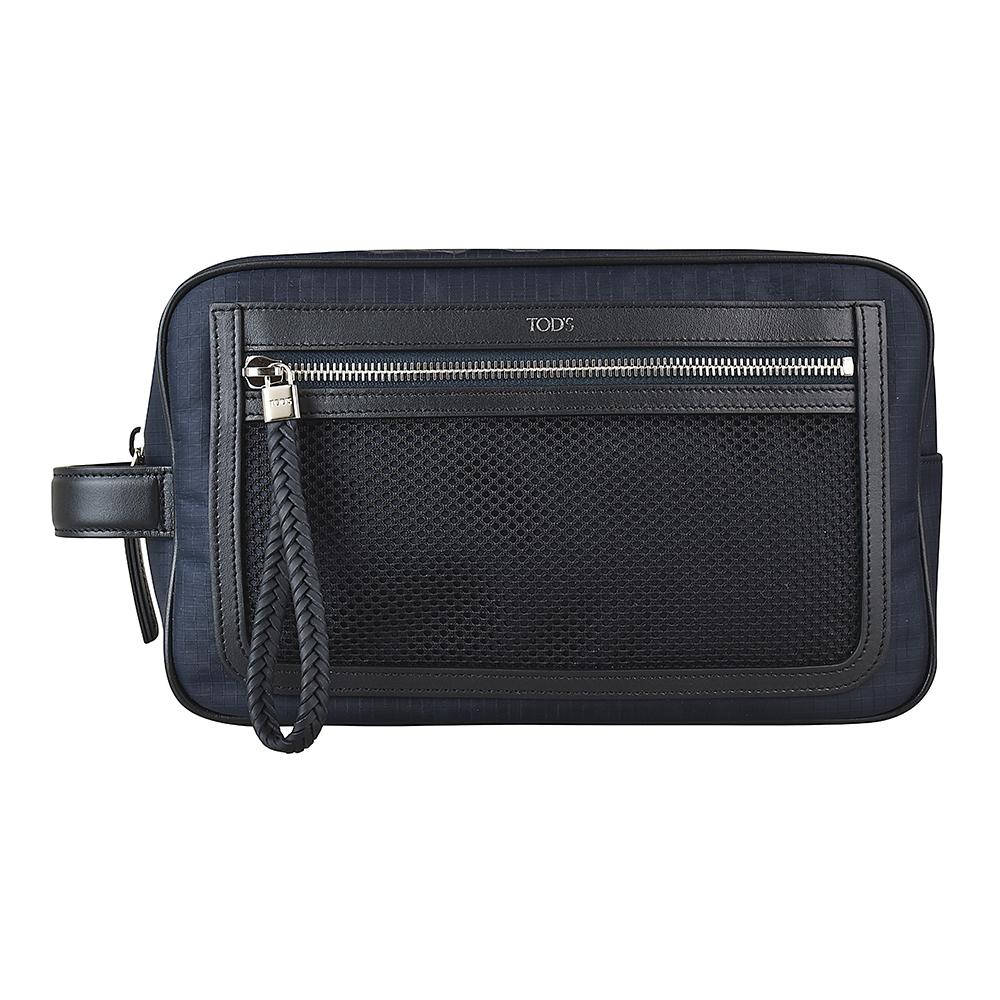 TOD'S經典燙銀字母LOGO編織設計尼龍拉鍊手拿包(深藍)
