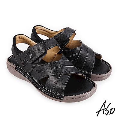 A.S.O 機能休閒 手縫氣墊雙縫厚底休閒男涼鞋-黑
