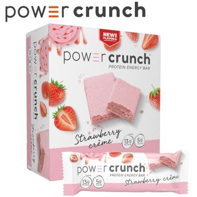 【美國 Power Crunch】Original 乳清蛋白能量棒 Strawberry Cream(草莓奶油/12x40g/盒)