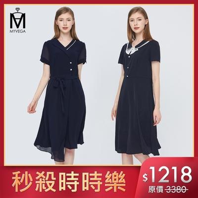 [時時樂限定]麥雪爾 纖腰遮臀顯瘦雪紡洋裝-二款任選