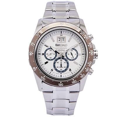 SEIKO LORD 賽車疾速風格的計時手錶(SPC241P1)-銀面/44mm