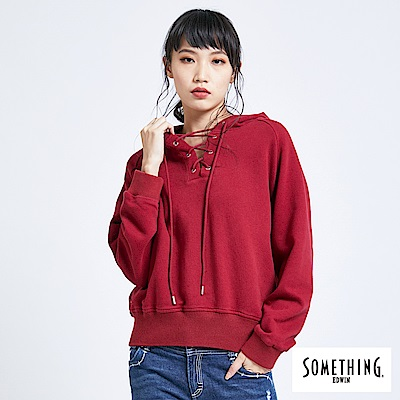 SOMETHING 青春高校 運動風穿繩連帽T恤-女-暗紅色