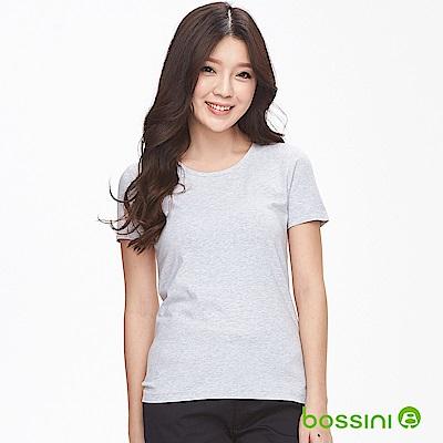 bossini女裝-素面彈性圓領T恤01淺灰