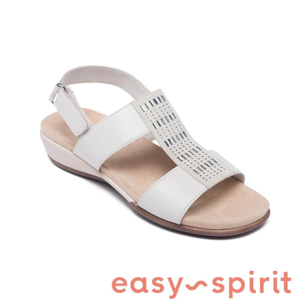 Easy Spirit-seHAZEL 優雅鑽飾真皮涼鞋-白色