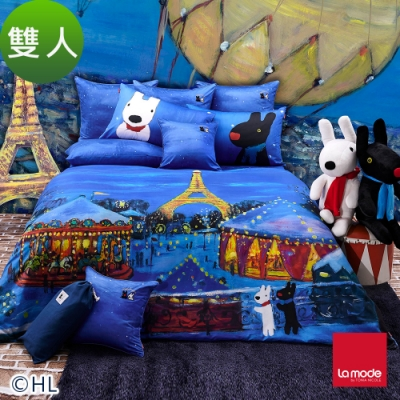 La mode寢飾 夜遊小巴黎環保印染100%特級精梳棉被套床包組(雙人)