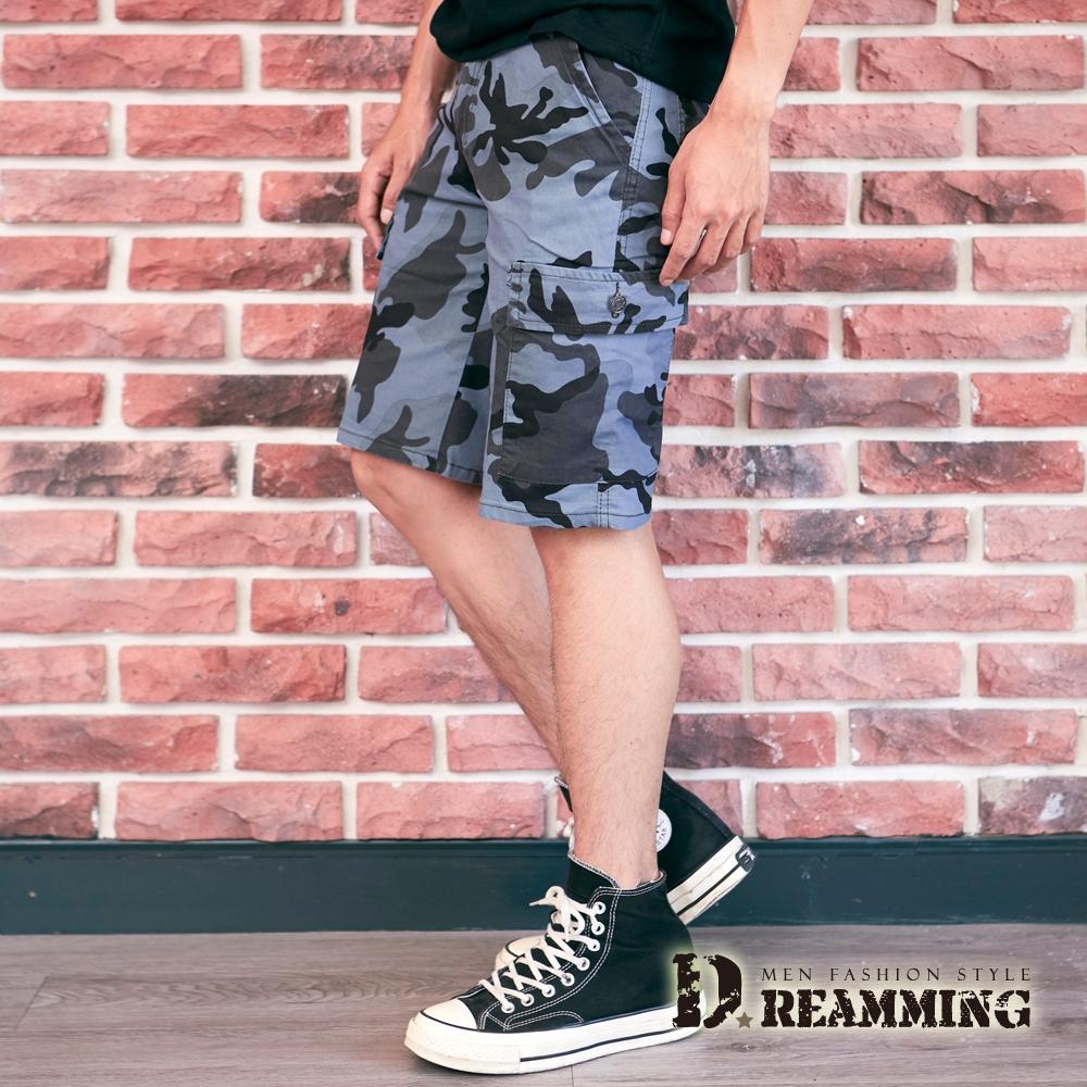 Dreamming 美式個性幾何迷彩休閒工裝短褲 側袋 彈力-共二色 (藍灰)