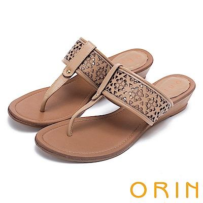 ORIN 夏日風情 造型簍空牛皮夾腳楔型拖鞋-米色