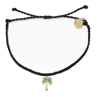 Pura Vida 美國手工 PARADISE PALM 金色棕櫚樹 黑色蠟線衝浪手鍊手環