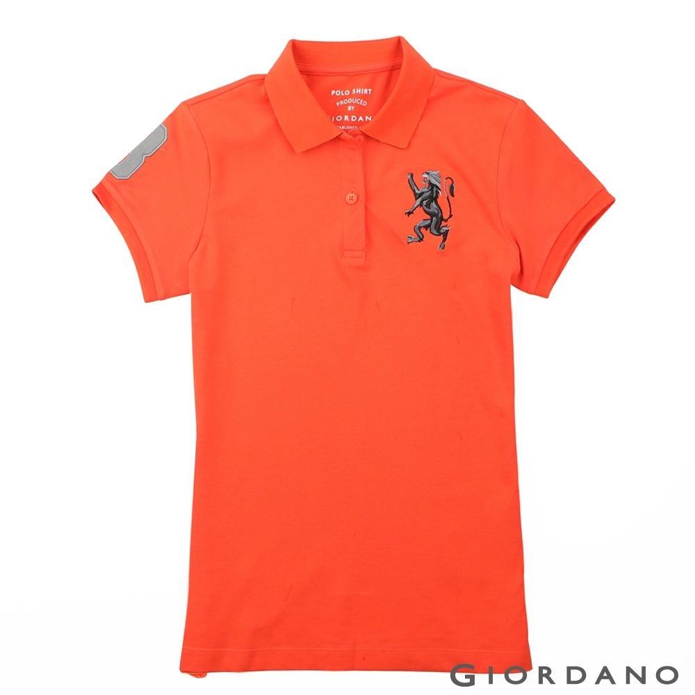 GIORDANO 女裝勝利獅王漸層刺繡彈力萊卡POLO衫-10 錦鯉橙