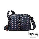 Kipling紅黃幾何印花雙層側背包-PATTI