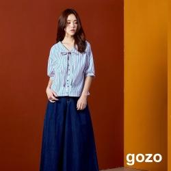 gozo 彩色條紋繽紛色釦雙面穿五分袖上衣(粉紅)