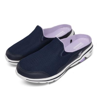 Skechers 涼拖鞋 Go Walk 5-Cakewalk 女鞋 懶人鞋 好穿脫 輕量 透氣 避震 藍 紫 124023NVLV