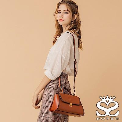 SOFER 甜美復古單釦牛皮肩背包 共2色