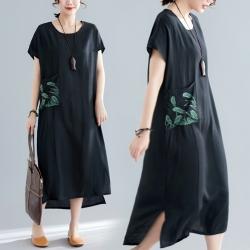 風韻素雅口袋鏽花寬鬆連衣裙棉麻洋裝L-2XL-Keer