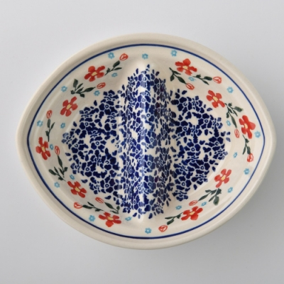 波蘭陶 藍印紅花系列 二格分隔盤 18x15cm 波蘭手工製
