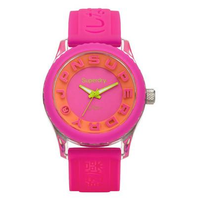 Superdry極度乾燥 Tokyo系列炫彩視覺運動腕錶-亮粉紅x橘x小-38mm