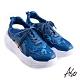 A.S.O 機能休閒 輕量抗震包腳床牛皮/布料綁帶休閒鞋-藍 product thumbnail 1
