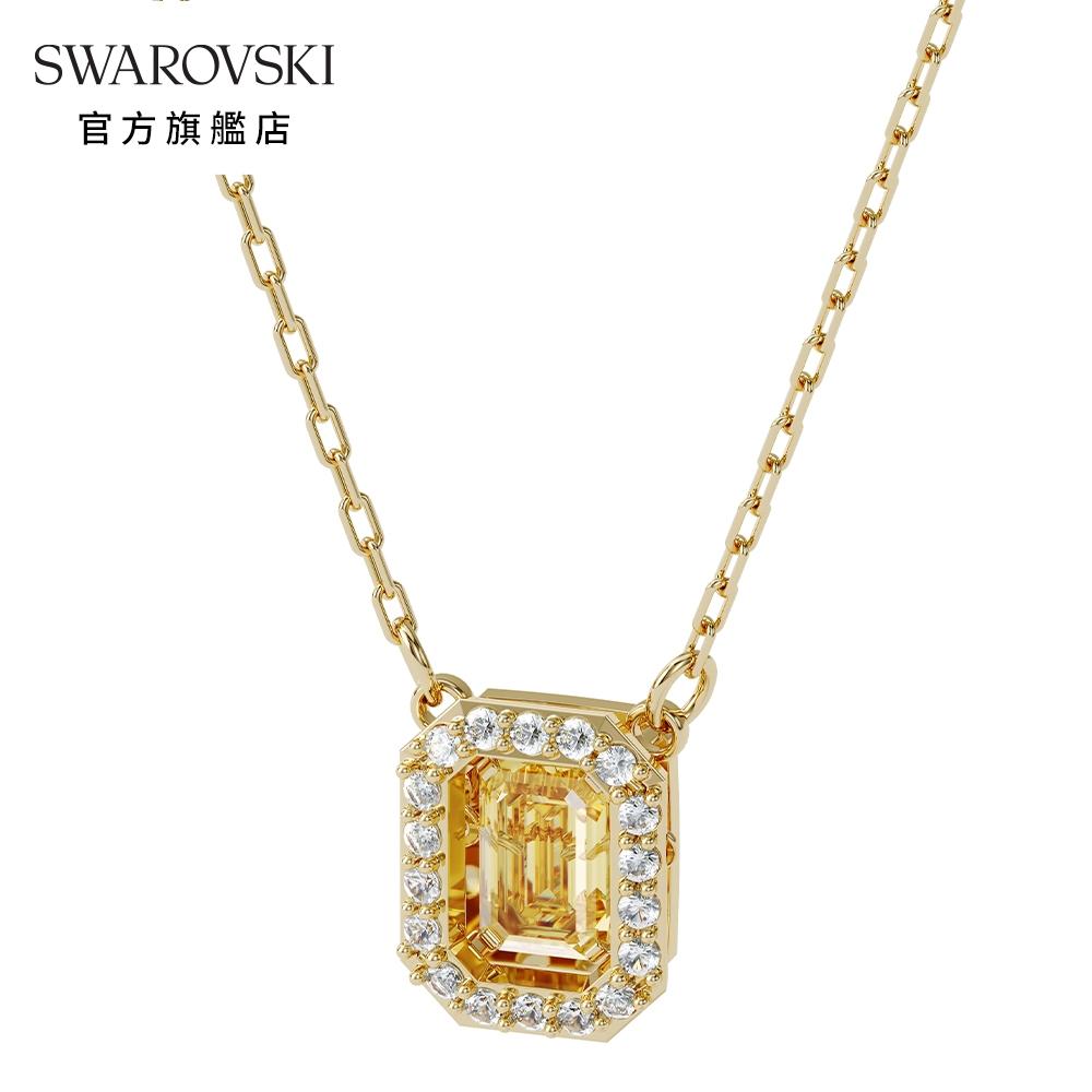 SWAROVSKI 施華洛世奇 MILLENIA 淡金色黃水晶正方形項鏈