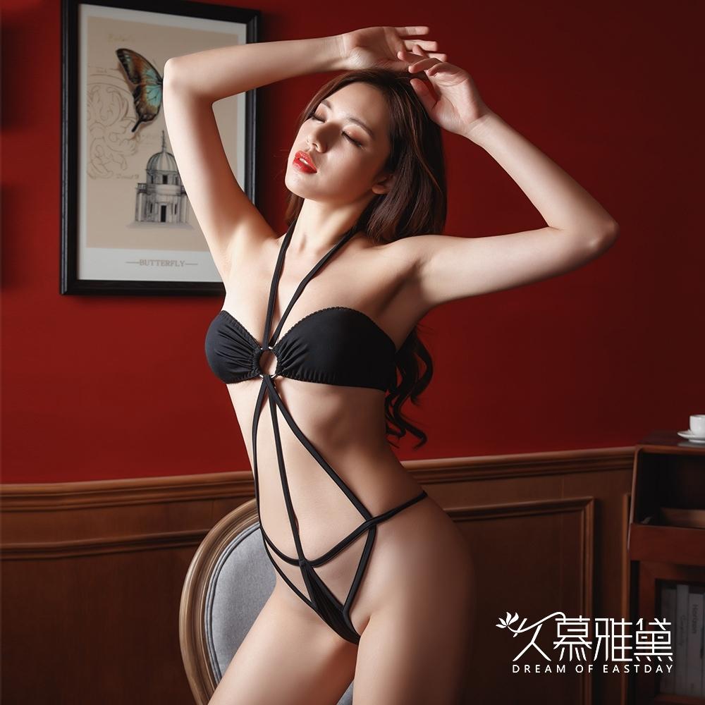 情趣內衣  捆綁型性感鏤空三點式連體比基尼 久慕雅黛