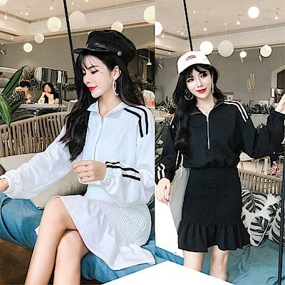 DABI 韓國風氣質條紋立領套裝長袖裙裝
