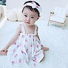 Baby unicorn 白色草莓無袖洋裝髮帶3件組