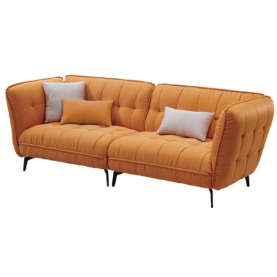 【AT HOME】北歐簡約實木骨架橘色布質鐵藝四人沙發(米蘭)