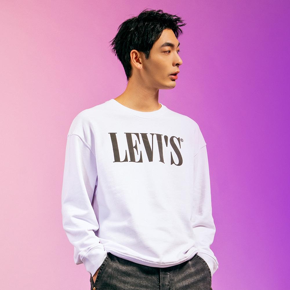 Levis 男款 重磅大學T 歐系Serif Logo 春夏形象款