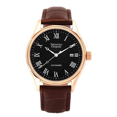 Valentino Coupeau 范倫鐵諾 古柏 經典羅馬機械錶(玫殼/黑面/咖皮)