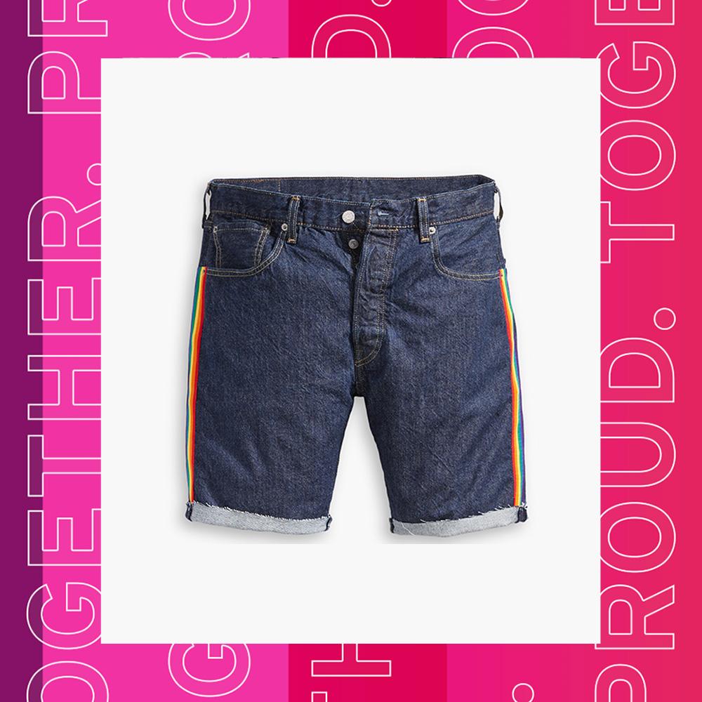 Levis 男款 上寬下窄 501排釦牛仔短褲 Pride平權 彩虹織帶